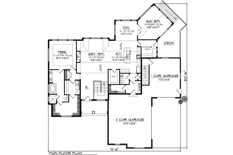 Ranch House Plan -  25675 - 1st Floor Plan