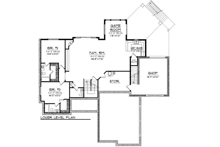 Craftsman House Plan -  25675 - Basement Floor Plan