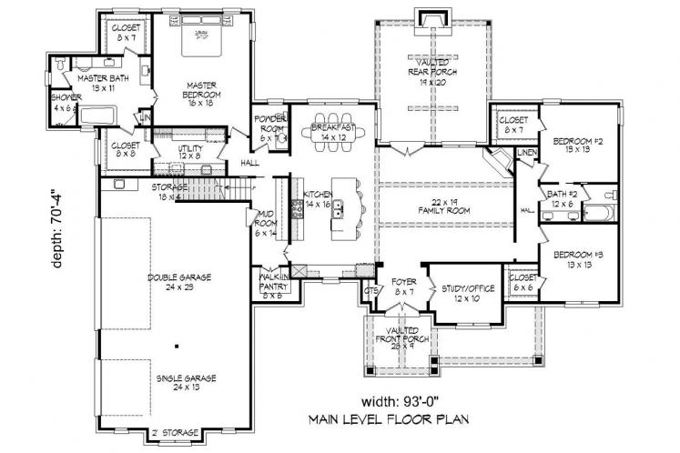 Classic House Plan -  25696 - 1st Floor Plan