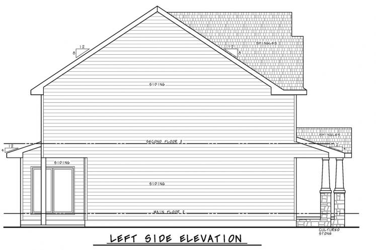 Craftsman House Plan - Chalco Garden 26392 - Left Exterior