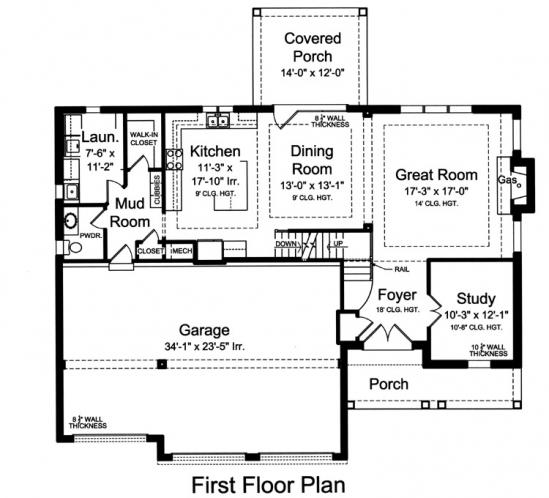 Country House Plan - Loretto 26493 - 1st Floor Plan