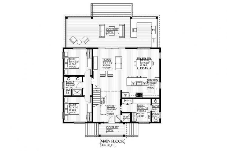 Southern House Plan - Caliza 26527 - 1st Floor Plan