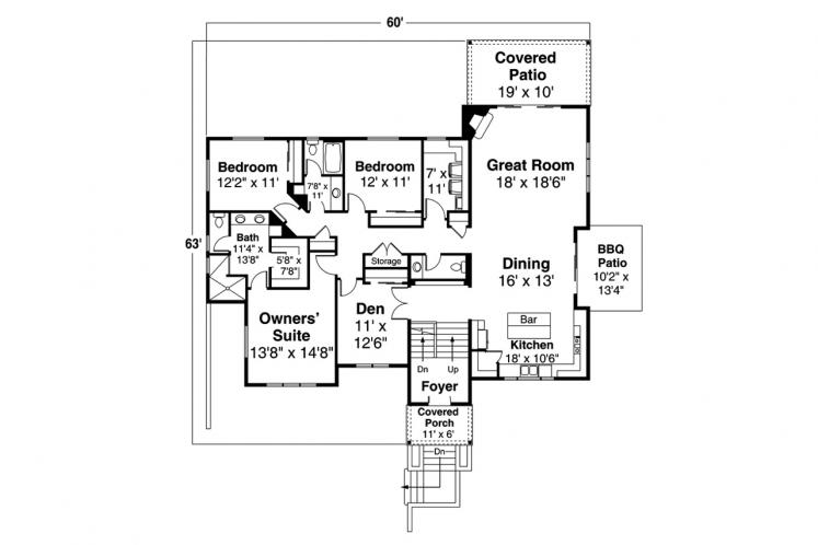Prairie House Plan - Staghorn 26537 - 1st Floor Plan
