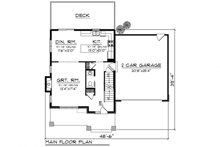 Prairie House Plan -  26649 - 1st Floor Plan