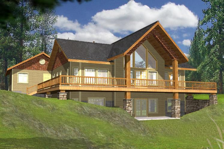 Lodge Style House Plan -  26666 - Rear Exterior