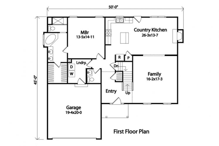 Colonial House Plan -  26728 - 1st Floor Plan