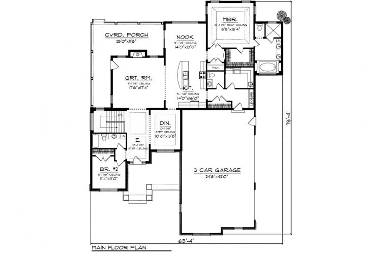 Ranch House Plan -  26812 - 1st Floor Plan