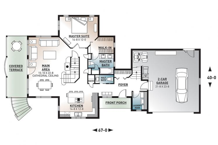 Country House Plan - The Thatchery 26893 - 1st Floor Plan