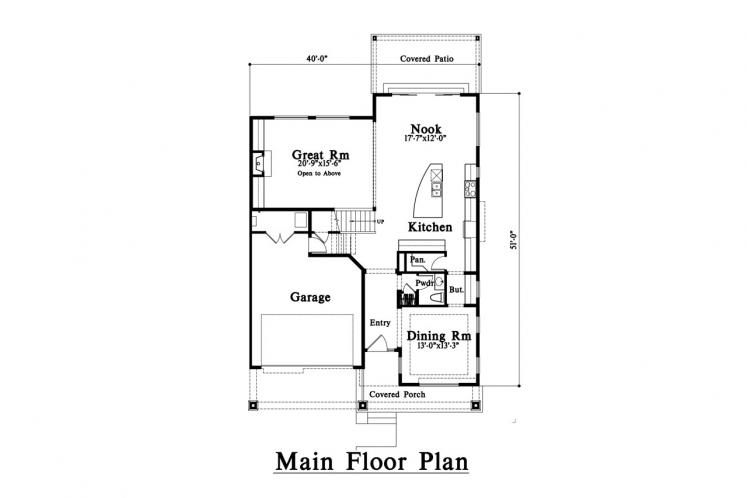 Traditional House Plan -  26984 - 1st Floor Plan