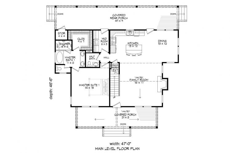 Bungalow House Plan -  27083 - 1st Floor Plan