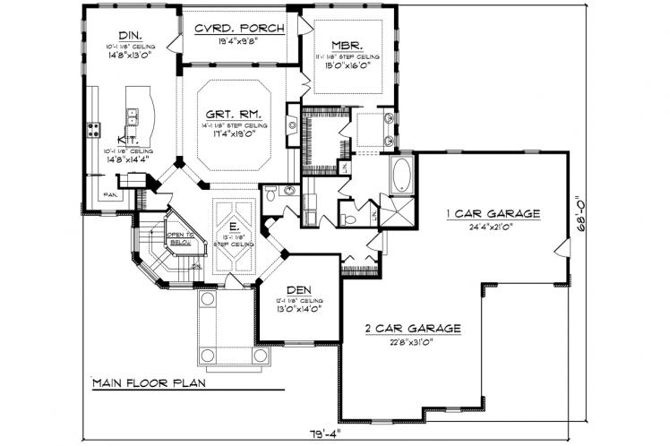 Traditional House Plan -  27095 - 1st Floor Plan