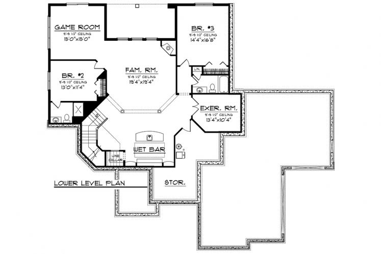 Ranch House Plan -  27095 - Basement Floor Plan