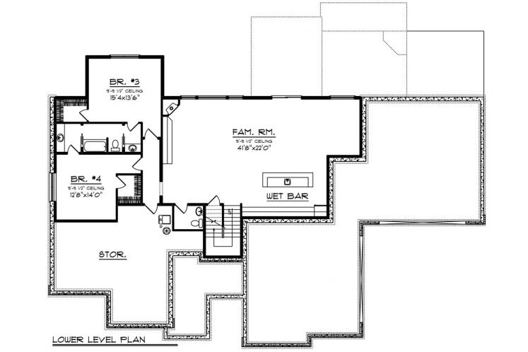 Ranch House Plan -  27236 - Basement Floor Plan