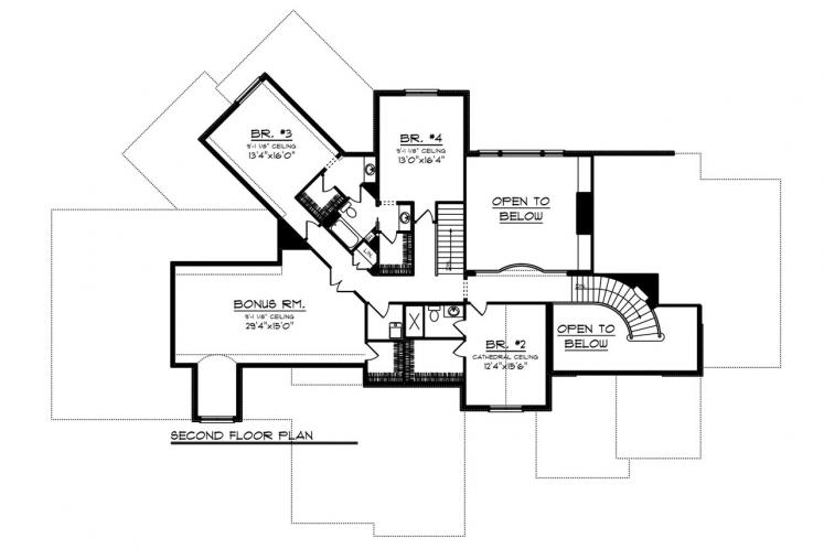 Traditional House Plan -  27478 - 2nd Floor Plan