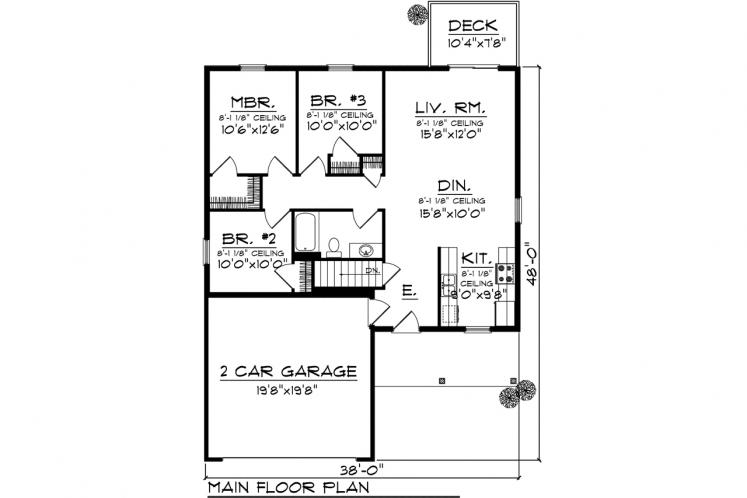 Ranch House Plan -  27506 - 1st Floor Plan