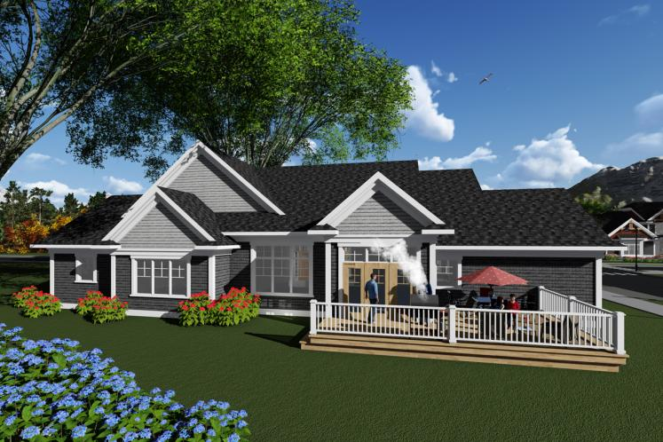 Ranch House Plan -  27560 - Rear Exterior