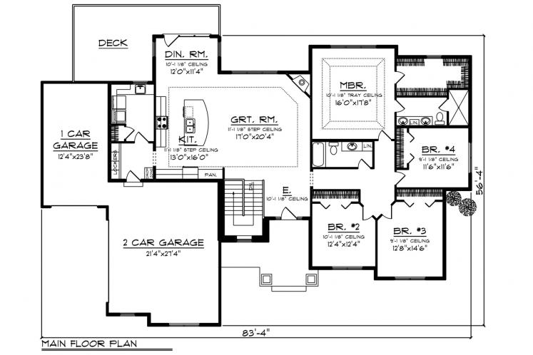 Craftsman House Plan -  27560 - 1st Floor Plan