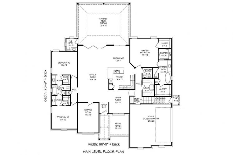 Country House Plan - Center Hill 27566 - 1st Floor Plan
