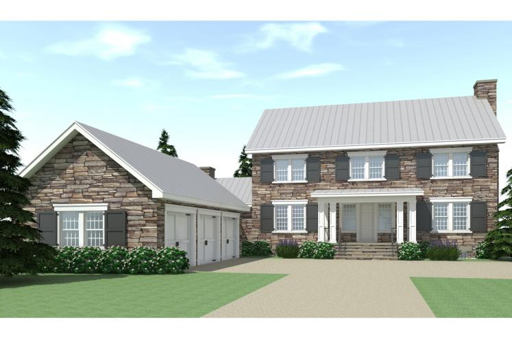 Colonial House Plan - Ansted 27659 - Front Exterior