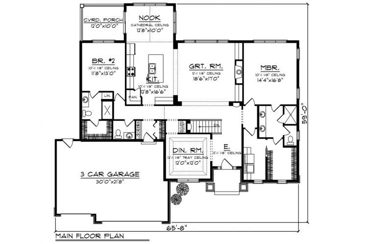 Ranch House Plan -  27985 - 1st Floor Plan
