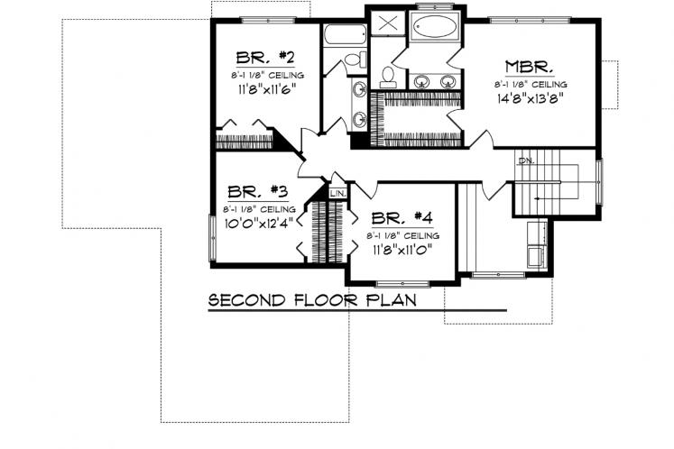 Traditional House Plan -  28120 - 2nd Floor Plan