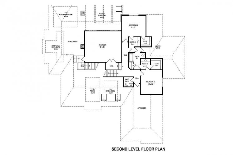 Southern House Plan -  28267 - 2nd Floor Plan