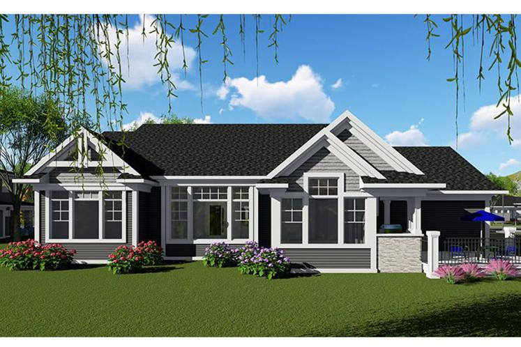 Craftsman House Plan -  28613 - Rear Exterior