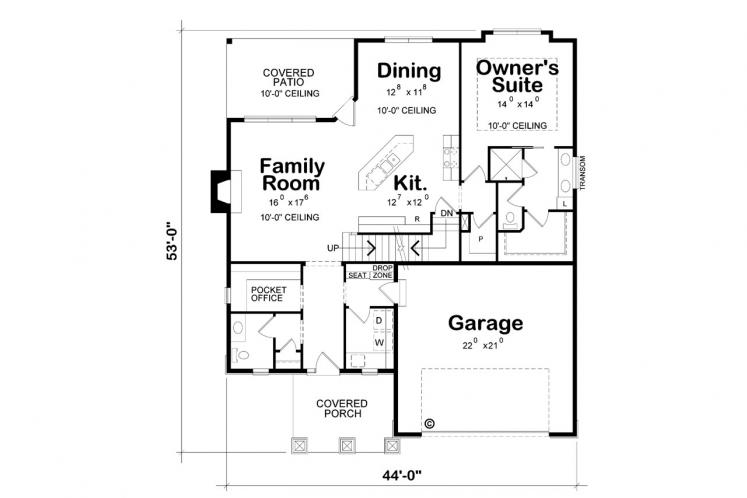 Country House Plan - Bassett 28629 - 1st Floor Plan
