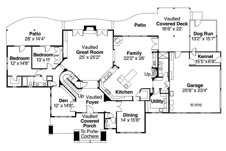 Lodge Style House Plan - Timberfield 28655 - 1st Floor Plan