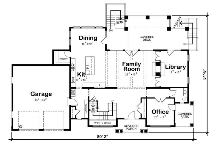 Farmhouse House Plan - Hattie Mim 28769 - 1st Floor Plan