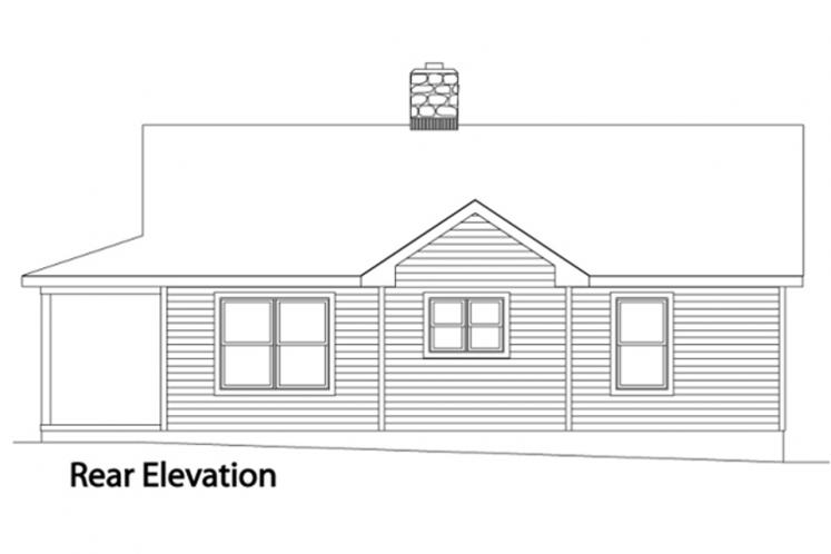 Traditional House Plan -  28993 - Rear Exterior