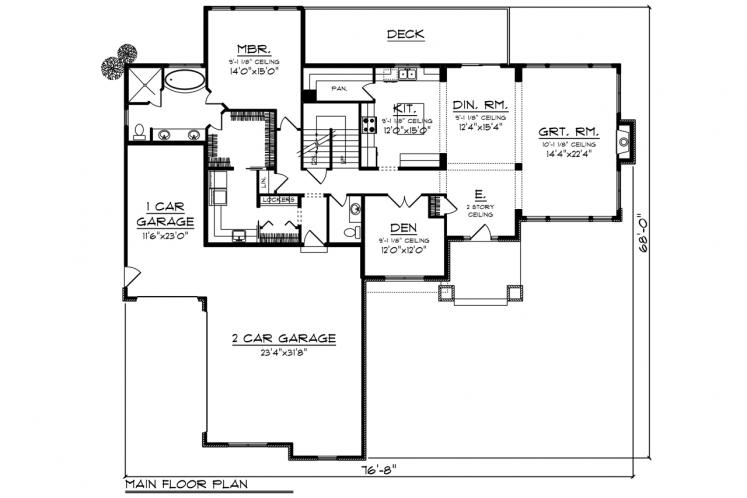 Craftsman House Plan -  29136 - 1st Floor Plan