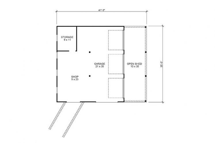 Farmhouse Garage Plan - Oldham Barn 29380 - 1st Floor Plan
