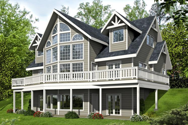 Lodge Style House Plan -  29385 - Rear Exterior