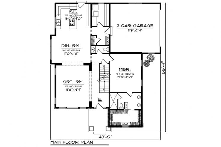 Craftsman House Plan -  29399 - 1st Floor Plan