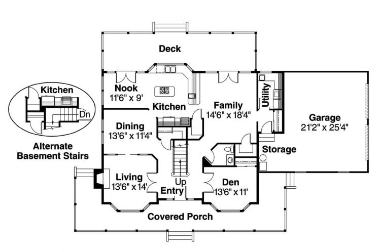 Colonial House Plan - Cimarron 29561 - 1st Floor Plan