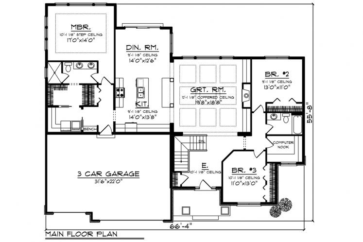 Traditional House Plan -  29655 - 1st Floor Plan