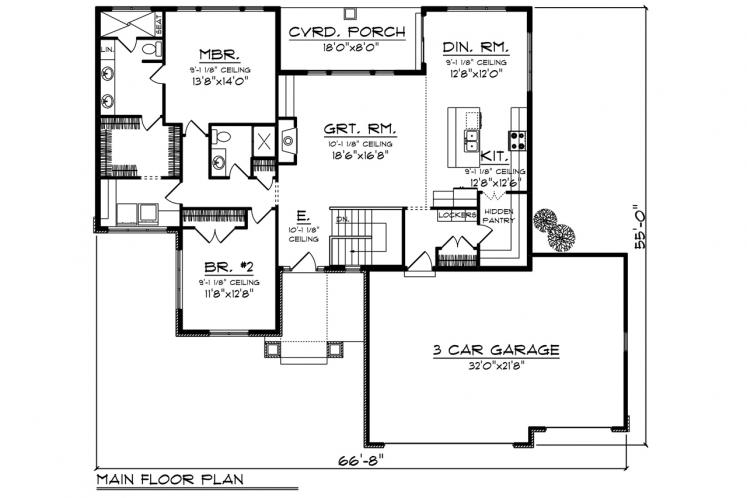 Traditional House Plan -  29767 - 1st Floor Plan