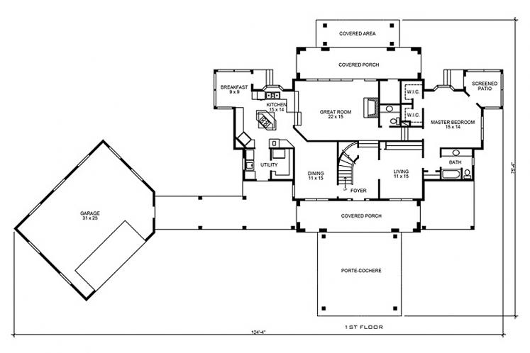 Spanish House Plan - Estrada 29797 - 1st Floor Plan