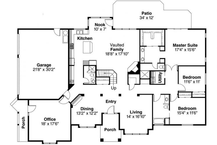 Contemporary House Plan - Ainsley 29878 - 1st Floor Plan