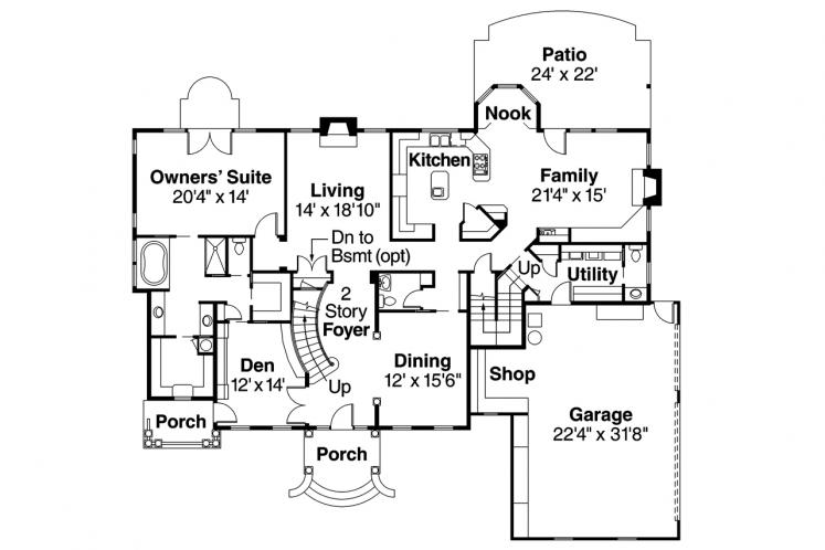 Classic House Plan - Palmary 29914 - 1st Floor Plan