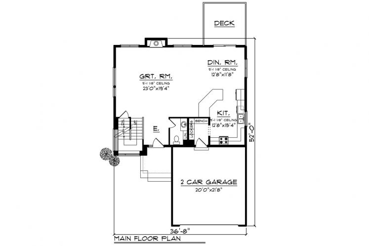 Contemporary House Plan -  30062 - 1st Floor Plan