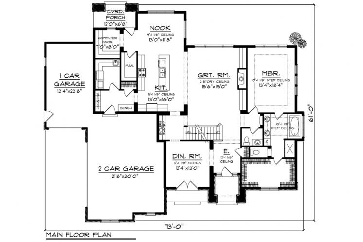 European House Plan -  30072 - 1st Floor Plan
