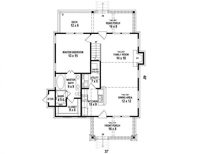 Bungalow House Plan -  30276 - 1st Floor Plan