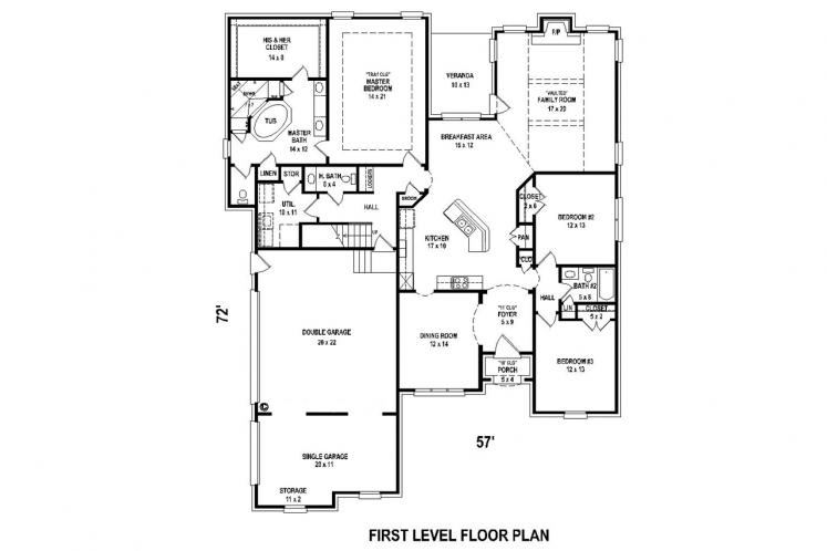 Southern House Plan -  30572 - 1st Floor Plan