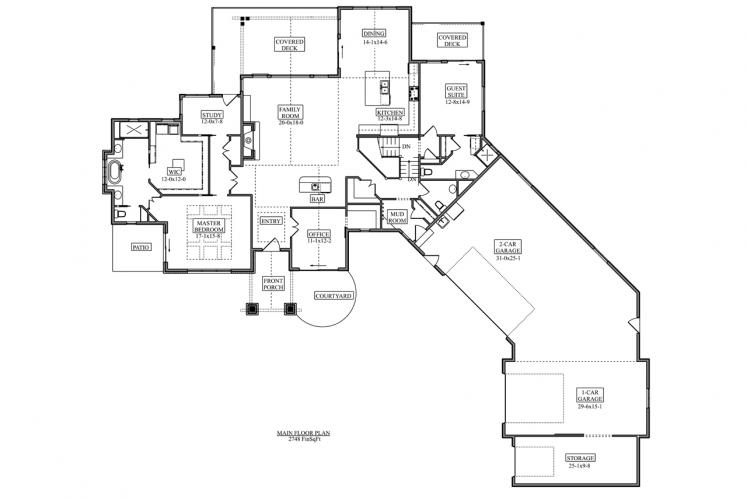 Ranch House Plan - Canyon Shadow 30620 - 1st Floor Plan