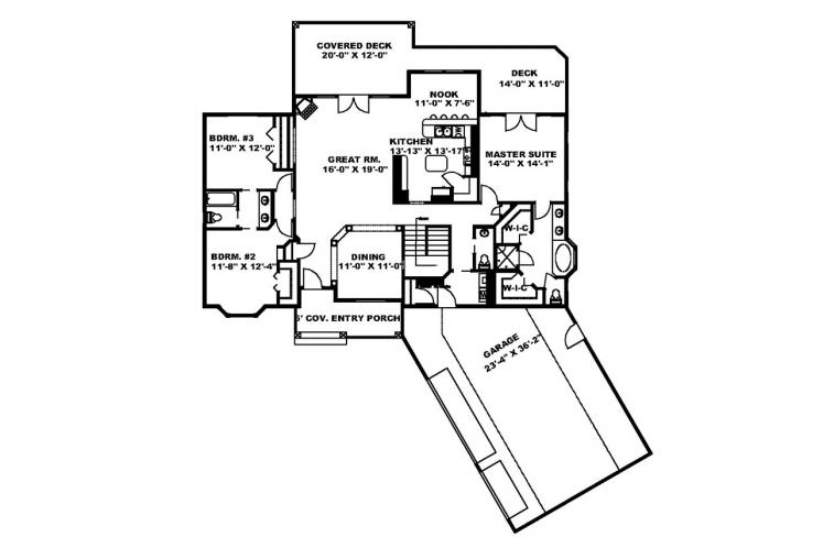 Traditional House Plan -  30774 - 1st Floor Plan