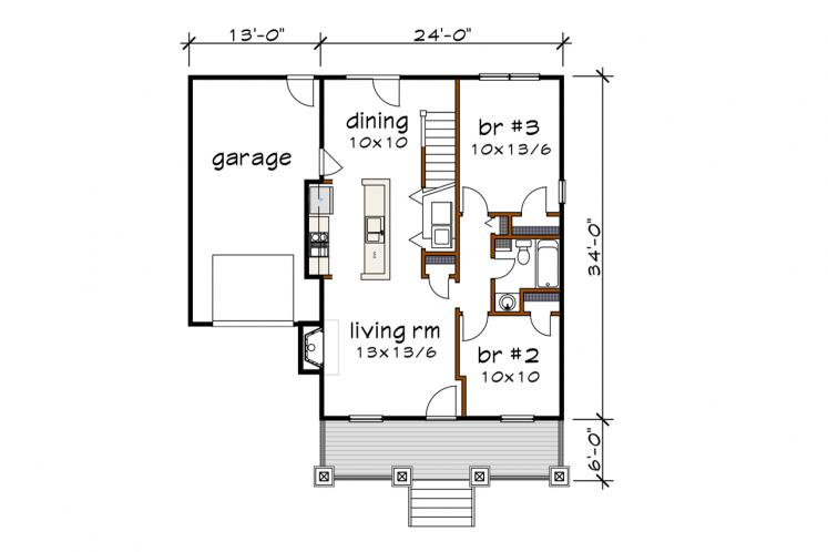 Cottage House Plan -  31050 - 1st Floor Plan
