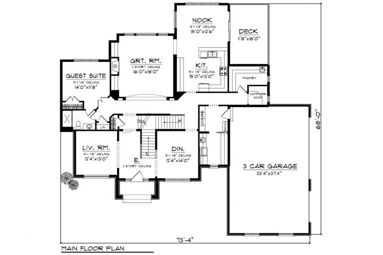 Country House Plan -  31219 - 1st Floor Plan