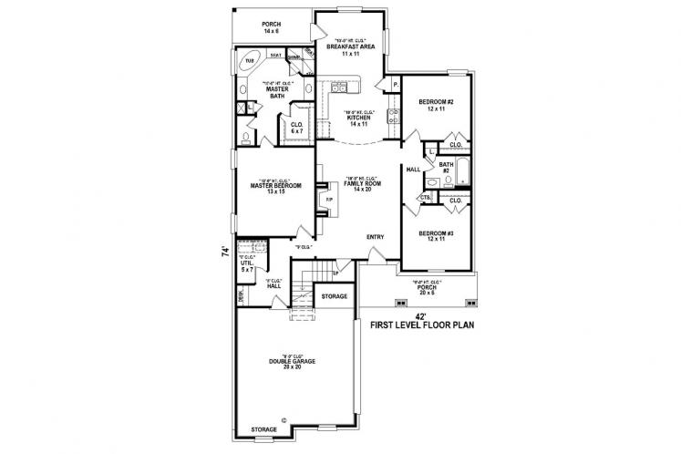Ranch House Plan -  31395 - 1st Floor Plan